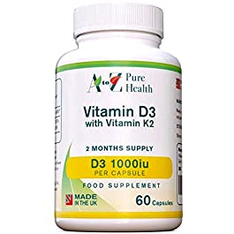A to Z Pure Health Vitamin D 1000iu with Vitamin K2 45μg Softgels (2 Months' Supply) | 60 Vitamin D3 with K2 Capsules…