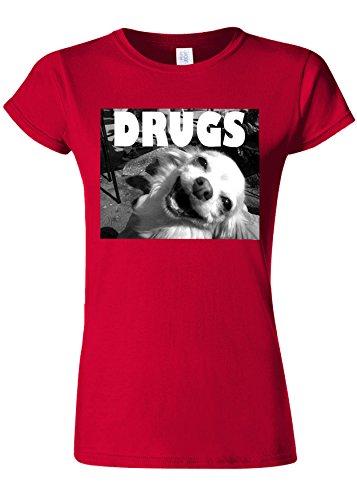反毒放棄良心的Drugs High Funny Dog Weed Novelty Cherry Red Women T Shirt Top-XL