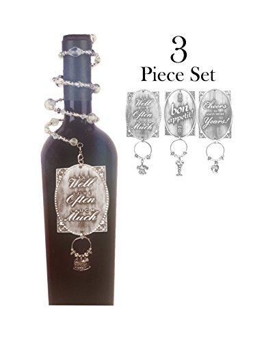 Napa Stemware Wine Glass - Wine Bottle Jewelry Gift Tag and Glass Charm - Set of 3 - Wine Lover Enthusiast Gift (Pewter- Cheers)