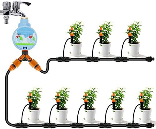 点滴灌漑キット、灌漑DIYシステム、灌漑設備、庭園、温室、花壇、鉢植えの植物、鉢植えのための調節可能なノズルを備えた自動散水キット (Color : Black, Size : 10m1)