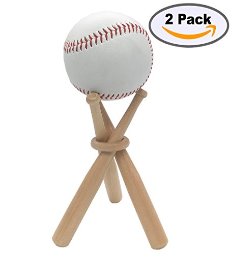 Baseball Stand Baseball Stand Holder Wooden Base Ball Stand Display Holder 2 pack