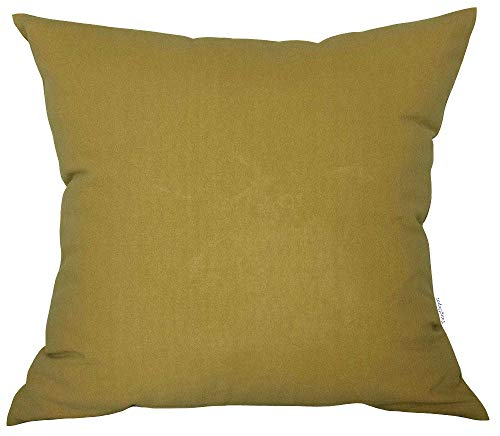 "TangDepot Decorative Handmade Solid Cotton Throw Pillow Covers, Super Soft Pillow Shams, Indoor/Outdoor Square Cushion Cover - (20""x20"", Mustard Yellow)"