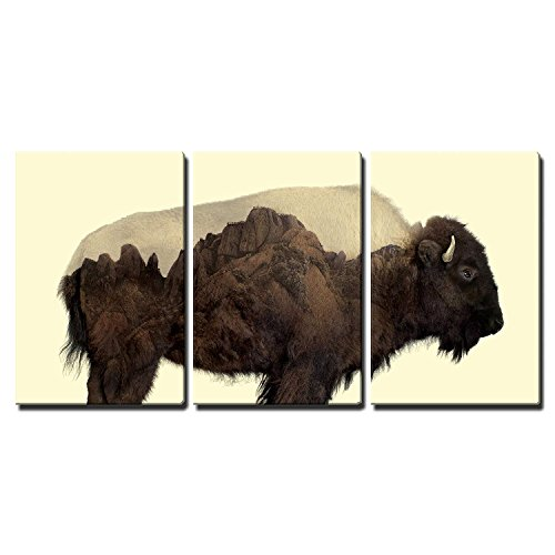 Double Exposure Graphic of a Buffalo and Rocky Mountains x3 Panels