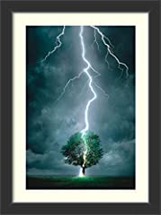 Art Print Title: Lightning Striking Tree Artist: unknown Style: Casual Frame: Corvino Black Frame Style: Modern Outer Size: 34.75 x 46.75 inchesThe Corvino Black frame features a contemporary black frame with a flat surface and a slightly rec...