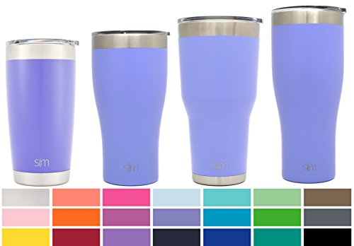 Double Wall Insulated Stainless Steel (Simple Modern 22oz Slim Cruiser Tumblers - Vacuum Insulated Travel Mugs Arctic Vessel - 22 ounces Double Wall Purple 18/8 Stainless Steel - Royal Raspberry)