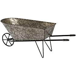 Time Concept Handcrafted Rustic Iron Garden Equipment Decor - Wheelbarrow Planter - Outdoor/Indoor Wagon Rack