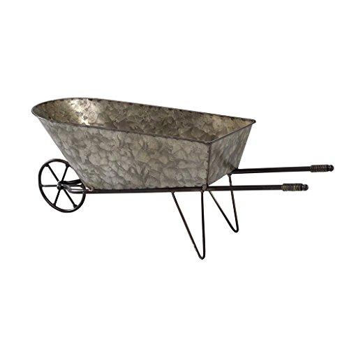 Time Concept Rustic Iron Garden Tool Decor - Wheelbarrow Planter - Home/Garage Container, Indoor/Outdoor Wagon Rack - Decorative Wheelbarrow