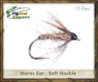 Fly Fishing Flies - HARES EAR SOFT HACKLE - Wet Fly (3-pack) - Fishing Soft Hackle Flies