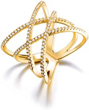 Redbarry Double Cross X Shape Micro CZ Paved Cocktail Party Rings, ( 3 Colors )