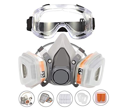 KISCHERS Reusable Half Facepiece and Anti-Fog Safety Goggle Set Against Dust/Organic Vapors/Smells/Fumes/Sawdust/Asbestos Suitable for Painting,Staining,Car Spraying,Sanding &Cutting