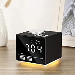 QOUP Bluetooth Speaker, Hands-Free Calling, Mirror Display Night Light, Wireless Bluetooth Dual Alarm Clock FM Radio U Disk Live, TF Card Music Playback Function,Black