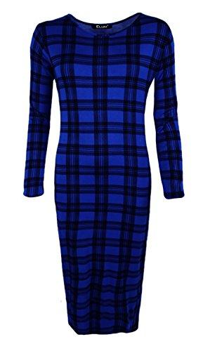 WearAll - Damen Bodycon Elastisch Schmucklos Dress Lange Ärmel Rundhalsausschnitt Midi Kleid - 6 Farben - Größe 36-42 Tartan Blue