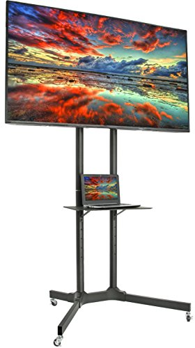 VIVO Black Rolling TV Cart for 32 to 65 inch LCD LED Plasma Flat Panel Screen | Mobile Stand with Wheels (STAND-TV03E) (Upright Tv Stand)