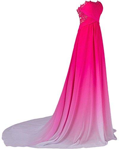 ivyd ressing Mujer de gran calidad Traeger los Punta & Gasa Largo a de línea Prom vestido Fiesta Vestido para vestido de noche Rosa
