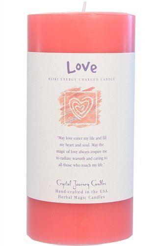 6'' x 3'' Crystal Journey Herbal Magic Reiki Charged Pillar Candle, Love,