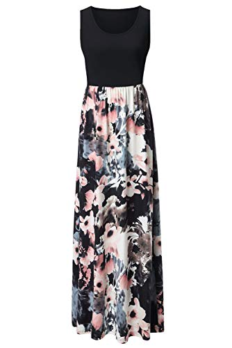 (Zattcas Womens Summer Contrast Sleeveless Tank Top Floral Print Maxi Dress Black)