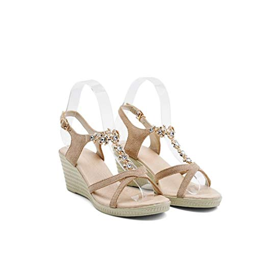 ZKYSO Women's Mid Wedge Rhinestone Sandals Open Toe Crisscross Strap Studded T Strap Platform Buckle Sandals Beige ()