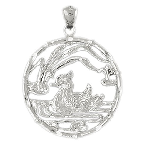 14k White Gold Duck in Pond Pendant by K&C