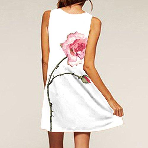 Mini Beach Corto Corto con Mangas Vestido Venta para Vestido Vestido Corto Vestido sin Blanco Manga EUZeo sin Mujer 6 la 3D Playa Corto Floral para Vestido Printed 2018 Caliente Estampado PPIqRB