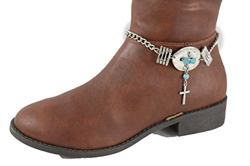 TFJ Women Western Boot Chains Metal Bling Bracelet Anklet Silver Cross Charm Turquoise Blue (Freestyle Pairs Costumes)