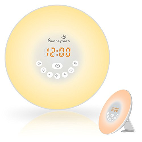 Wake Up Light, SunbaYouth Sunrise Alarm Clock Radio with 7 Color Night Light, 6 Nature Sounds, and FM Radio for Bedside - Clock Green Rubber