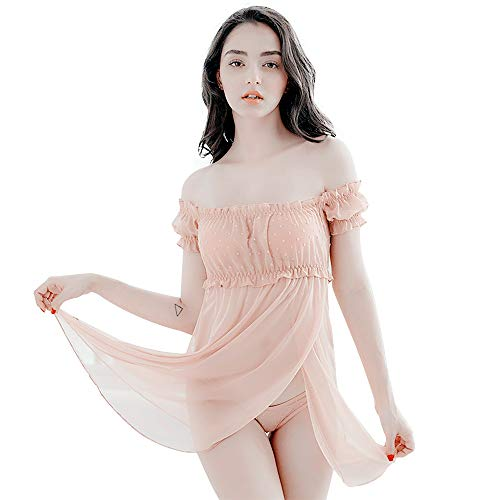 TOMORI Womens Chiffon Polka Dot Sleepwear Transparent Lingerie Elegant Tulle Chemise Word Shoulder Pajamas -