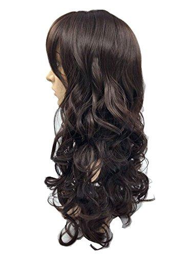 Wigbuy Hair Wigs Wavy Curly 24inche Long Hair for Women (Dark Brown)