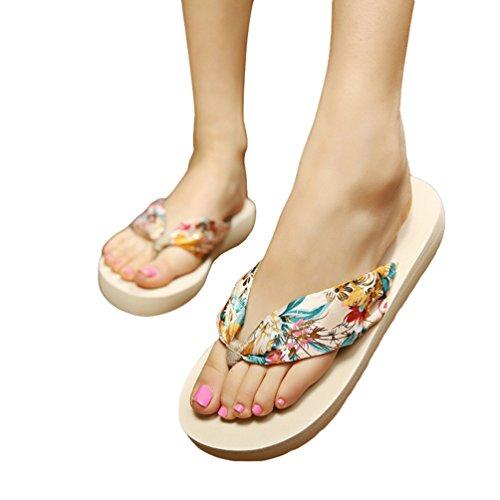 Fleurs Tongs Or amp; Plage Été Sandales Beige Boho Femme Youjia Filles Chaussures Plateforme De qOawXntB