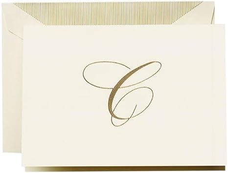 CF1444 Hand Engraved Ecruwhite Gold Cross Note Crane /& Co