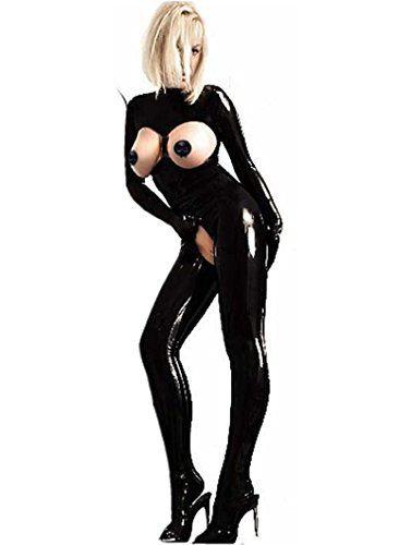 Sexy PVC Latex Catsuit Women Black Open Bust Bodysuit Cat Women Costume Open Crotch (Latex Catwoman Suit)