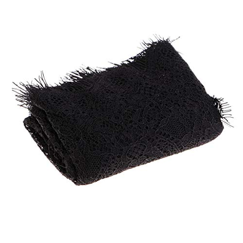 3 Yards Crafts Black Eyelash Lace Trim Floral Sewing Dress Making 22cm Width (Legs Tan Veil)