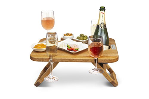 Kango Mango Portable Folding Wine and Champagne Picnic Table – for Wine Lovers, Stylish Mini Picnic Table for Outdoors, Events, Romantic Dinners, Beach, Camping – from Beautiful Mango Wood