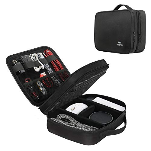 Matein Electronics Travel Organizer, Watreproof Electronic Accessories Case Portable Double Layer Cable Storage Bag for Cord, Charger, Flash Drive, Phone, Ipad Mini, SD Card, Black