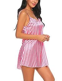 Avidlove Women Lingerie Stain Nightgown Stripe Sleepwear Women Full Slip