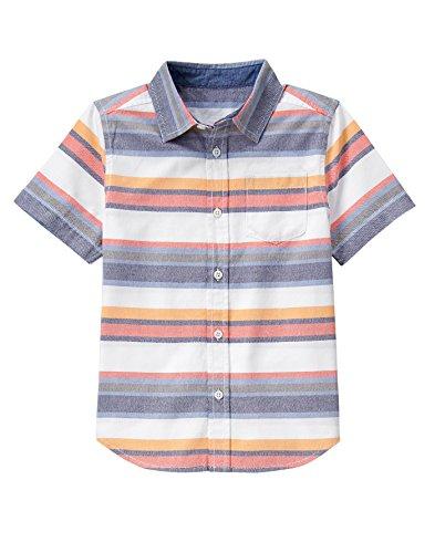 Gymboree Big Boys' Stripe Woven Top, Multi, M - Multi Stripe Woven Shirt