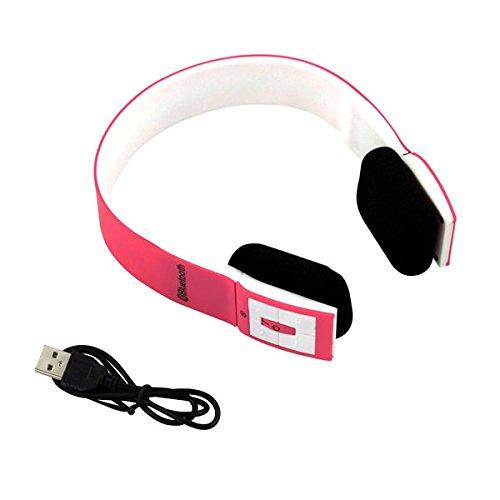 MAZIMARK--Wireless Bluetooth Foldable Headset Stereo Headphone Earphone for iPhone Samsung (pink)