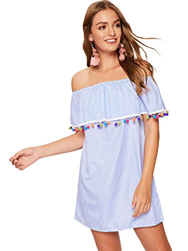 Pom-pom Trim Ruffle Off Shoulder Striped Dress Blue# S ()