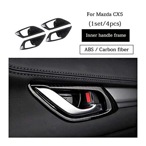4pcs Carbon Fiber Car Interior Exterior Door Handle Bowl Covers Decorative Stickers for Mazda CX5 CX5 CX 5 2017 2018 KF Auto Accessories  (color Name  4pcs Carbon Fiber)