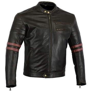 Australian Bikers Gear chaqueta moto Cafe Racer en color negro envejecido y rayas rojas oxblow con protecciones homologadas y extraíbles en talla 4xl: ...
