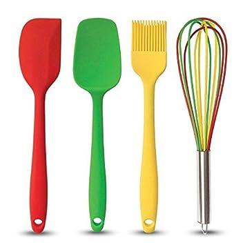 Set di 4 Utensili da Cucina - Cucchiaio/Raschietto, Frusta ...