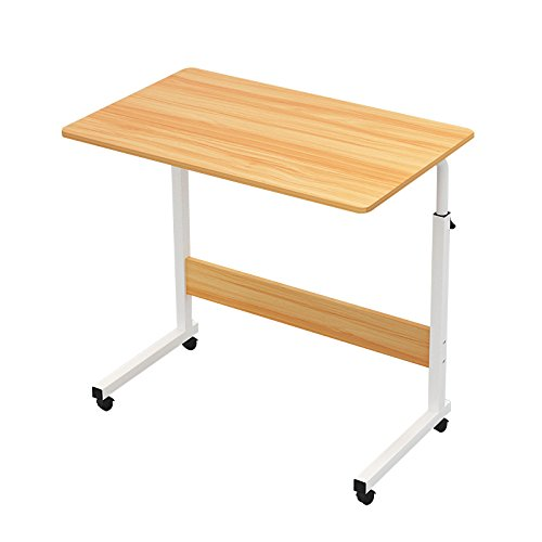 Magshion Laptop Stand Adjustable Computer Standing Desk Portable Cart Tray Side Table with wheels for Bed Sofa Hospital Reading Eating (Natural) by Magshion