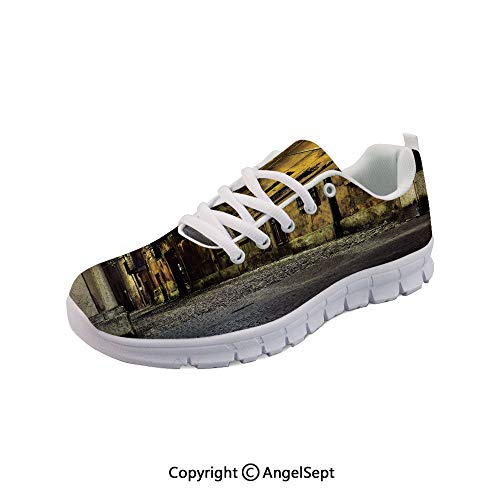 Athletic Running Shoes Ancient Empty Dark City with Lightweight Sneakers -