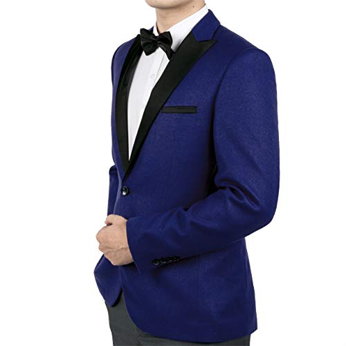 WEEN CHARM Mens Slim Fit Tuxedo Blazer Jacket One Button Peak Lapel Solid Separate Tux Suit Jacket