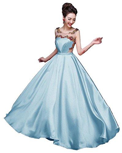 Cuello sin claro Emily Beauty mangas Azul Vestidos tarde la O drapeado del Transparente ya7KOpKFr