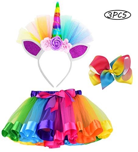Image of the LYLKD Little Girls Layered Rainbow Tutu Skirts with Unicorn Horn Headband and Hairbow (Rainbow, L,4-8 Years)