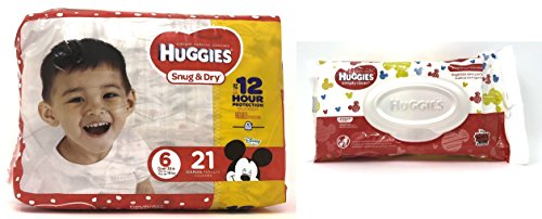 Diaper/Baby Wipe Travel Pack Bundle | Includes Huggies Snug & Dry Size 6 Disposable Diapers (21 Count) and Simply Clean Baby Wipes Resealable Container (32 Count) by Snug & Dry (Image #6)