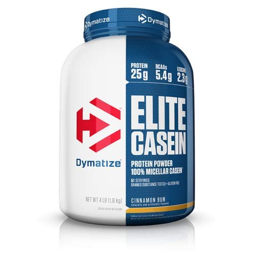 Dymatize Elite 100% Micellar Casein Slow Absorbing Protein Powder with Muscle Building Amino Acids, Perfect For Overnight Recovery, Slow Digesting, Cinnamon Bun, 4 lbs by Dymatize