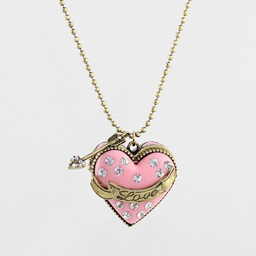 Fashion 2014 New Lovely Pink Enamel Box Openable Heart Pendant - Pl Nc