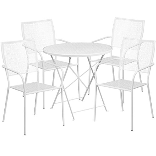 MFO 30'' Round White Indoor-Outdoor Steel Folding Patio Table Set with 4 Square Back Chairs