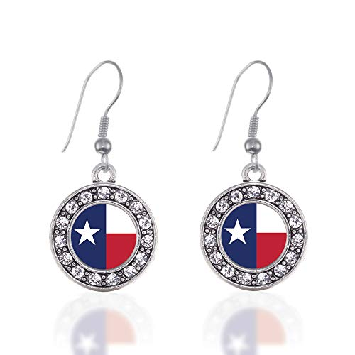 Texas Flag Charm - Inspired Silver - Texas Flag Charm Earrings for Women - Silver Circle Charm French Hook Drop Earrings with Cubic Zirconia Jewelry